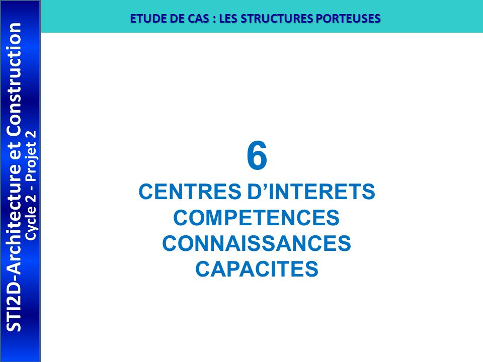 6 STI2D-Architecture et Construction CENTRES D'INTERETS COMPETENCES