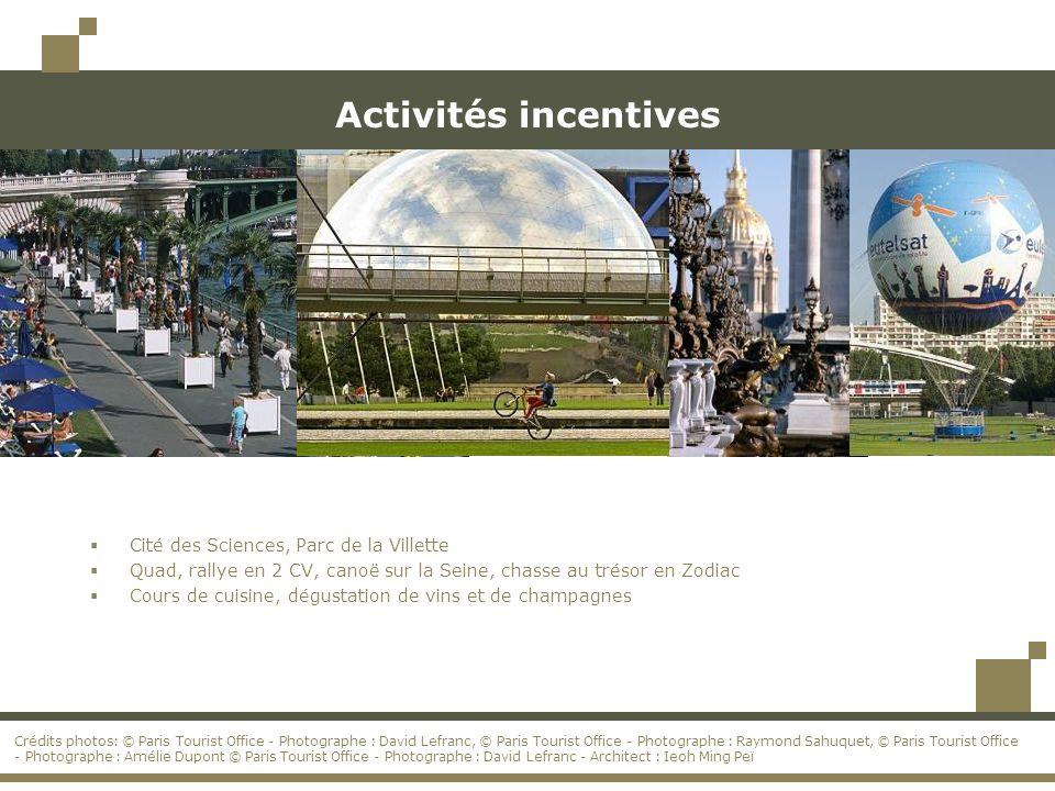Activités incentives Cité des Sciences, Parc de la Villette