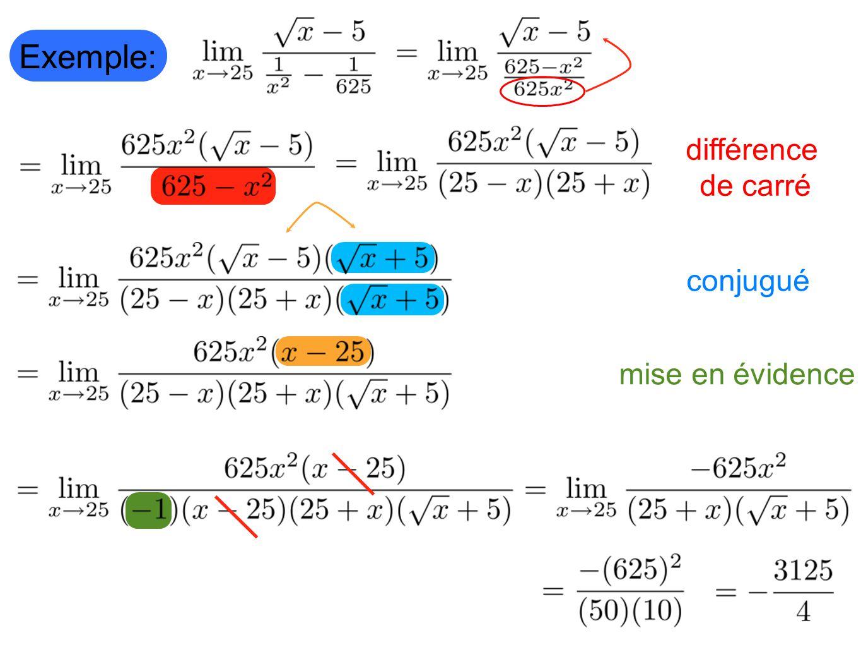 Exemple: différence de carré conjugué mise en évidence