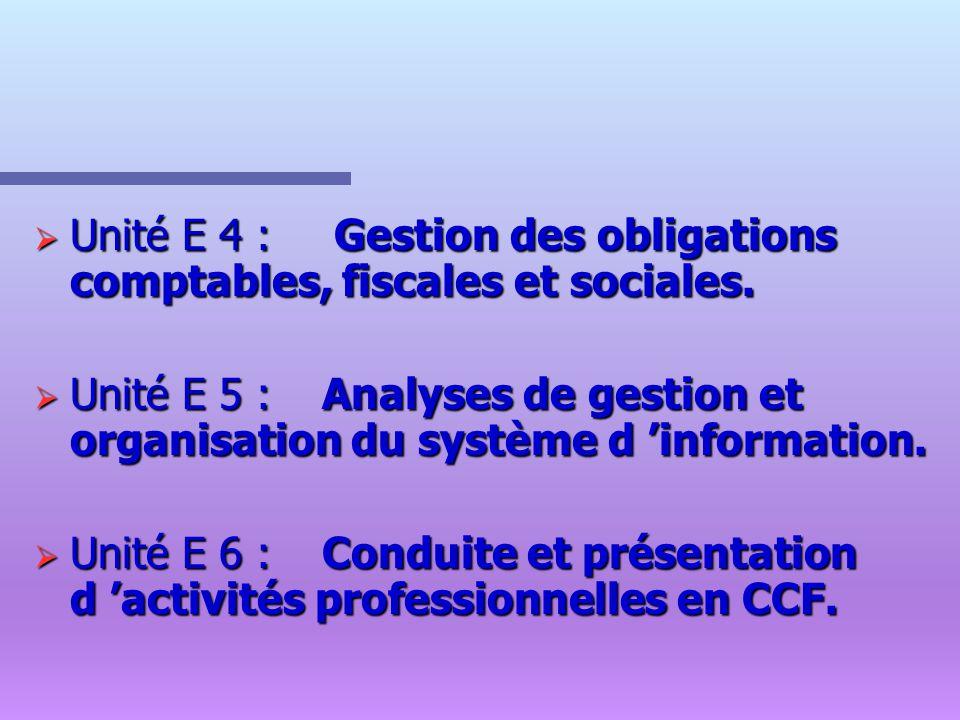 Unité E 4 : Gestion des obligations comptables, fiscales et sociales.