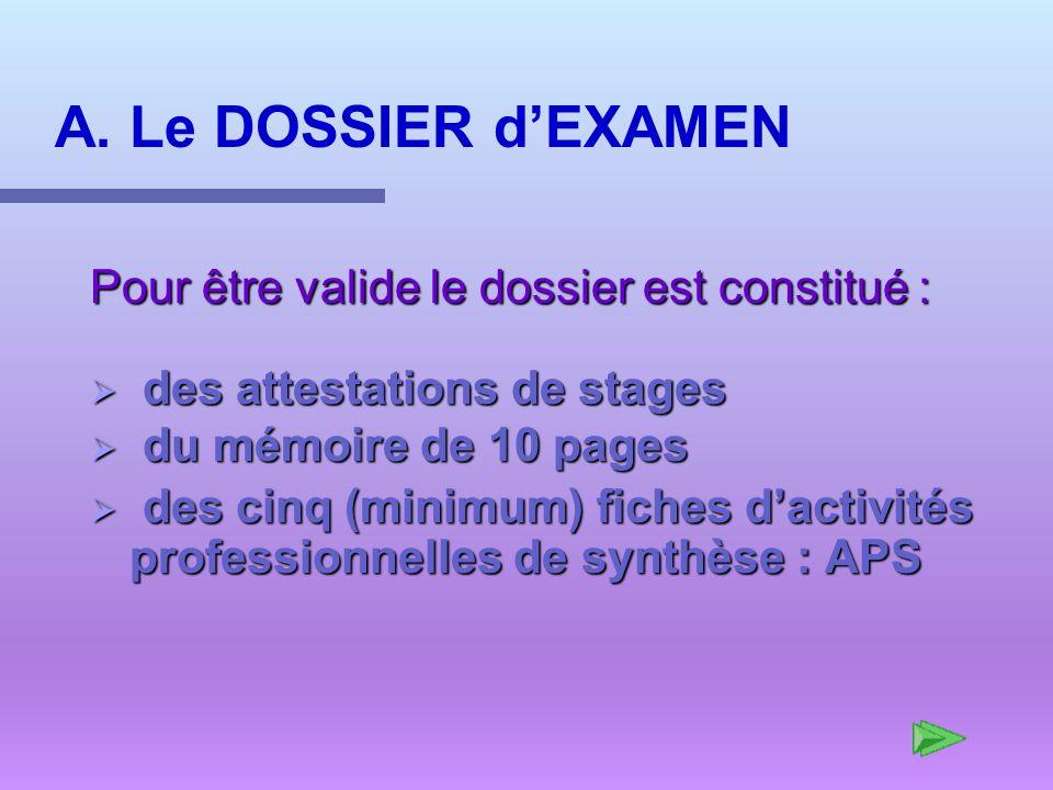 A. Le DOSSIER d'EXAMEN Pour être valide le dossier est constitué :