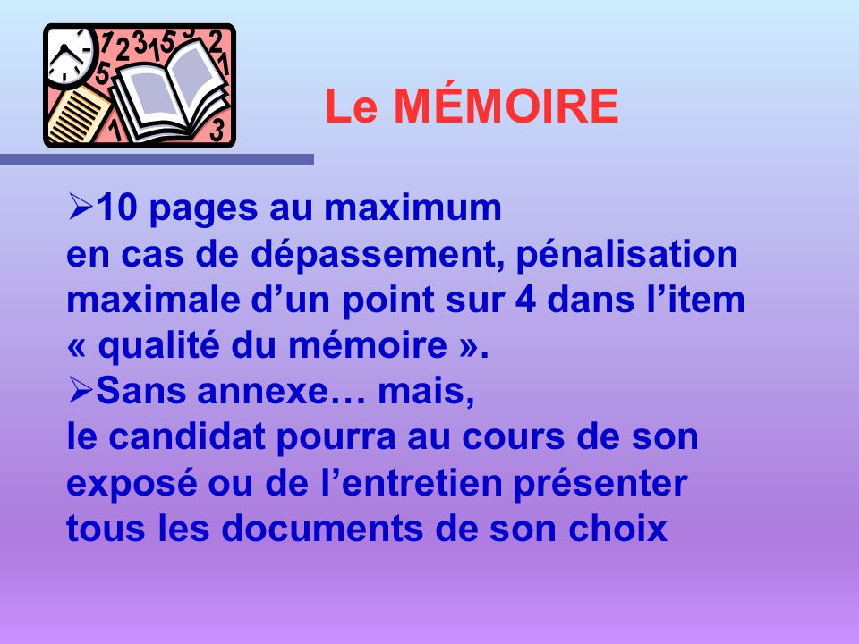 Le MÉMOIRE 10 pages au maximum