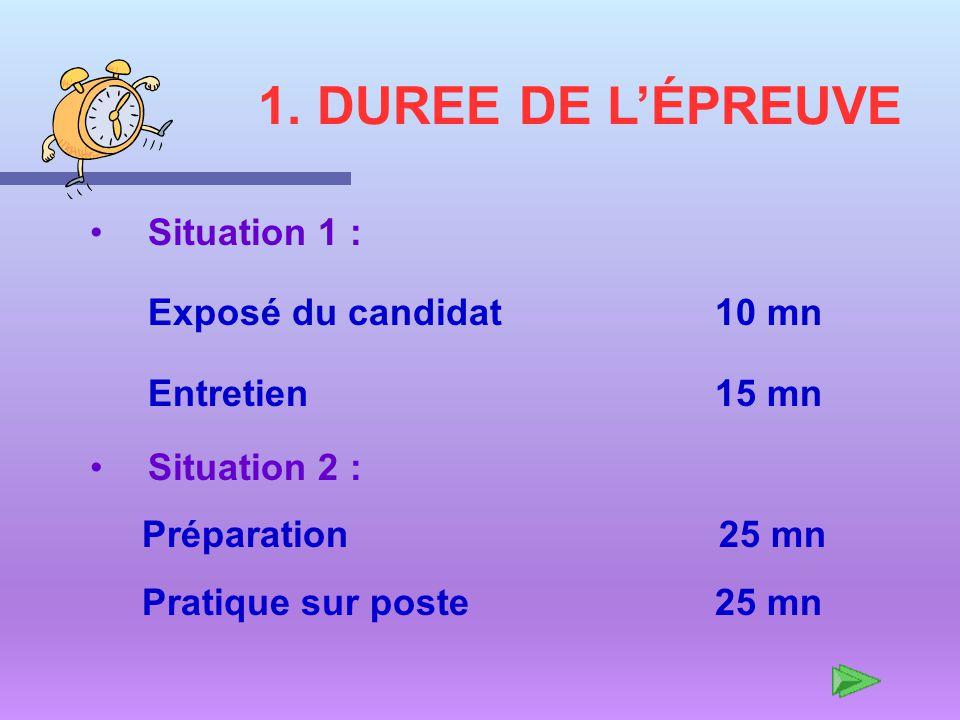 1. DUREE DE L'ÉPREUVE Situation 1 : Exposé du candidat 10 mn Entretien 15 mn.