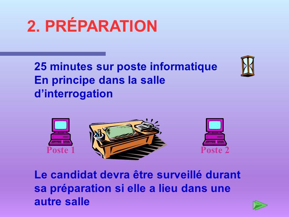 2. PRÉPARATION 25 minutes sur poste informatique