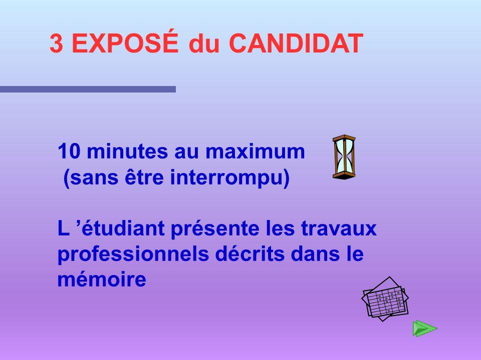 3 EXPOSÉ du CANDIDAT 10 minutes au maximum (sans être interrompu)