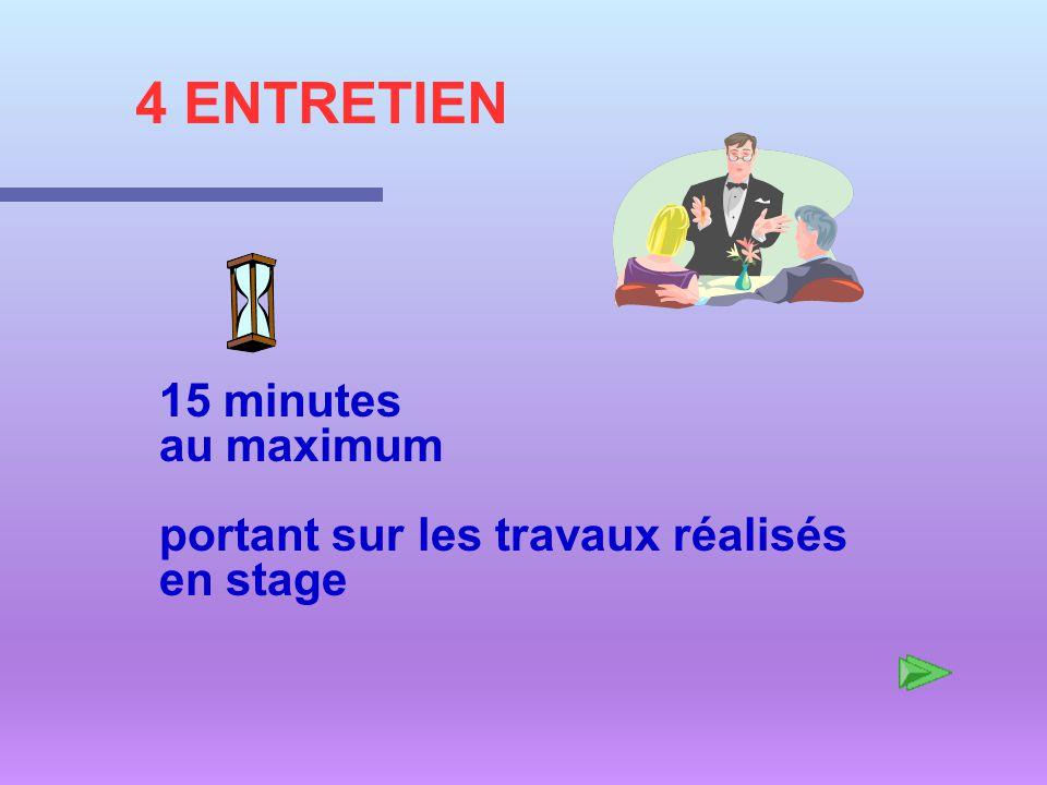 4 ENTRETIEN 15 minutes au maximum