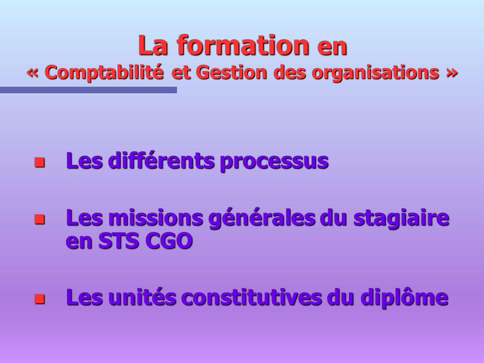 La formation en « Comptabilité et Gestion des organisations »