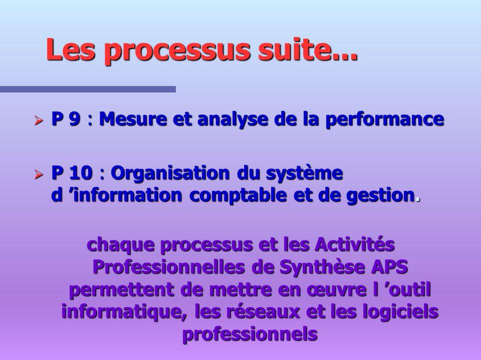 Les processus suite... P 9 : Mesure et analyse de la performance