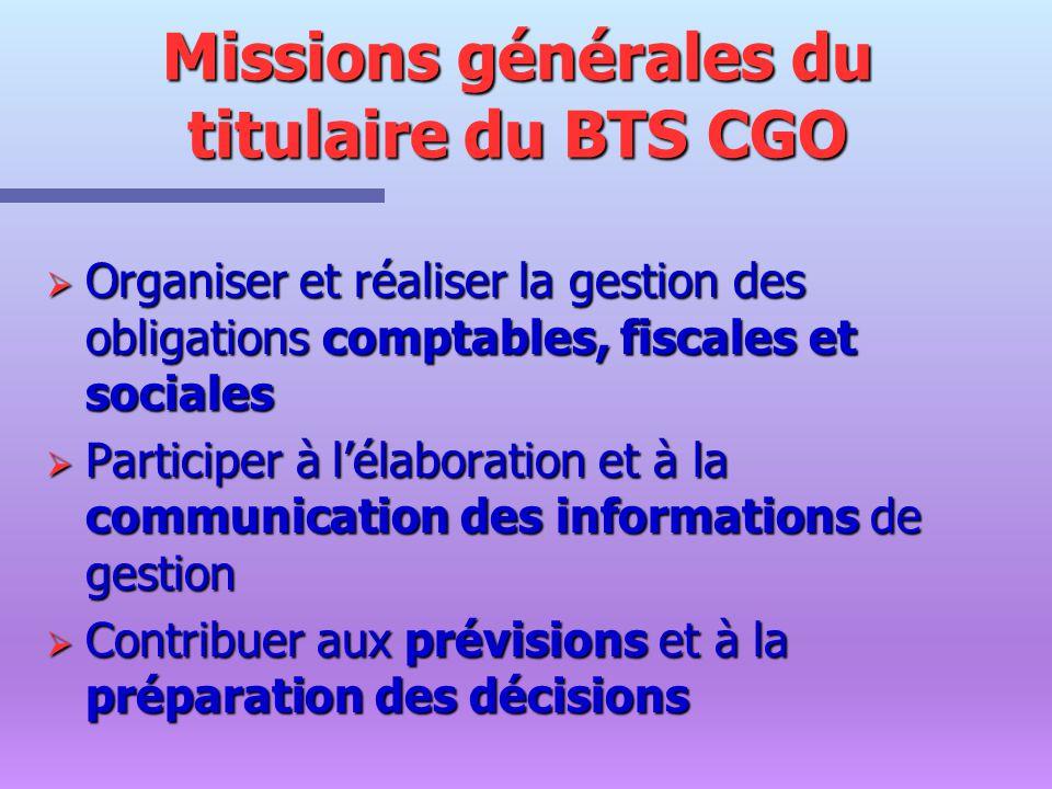 Missions générales du titulaire du BTS CGO