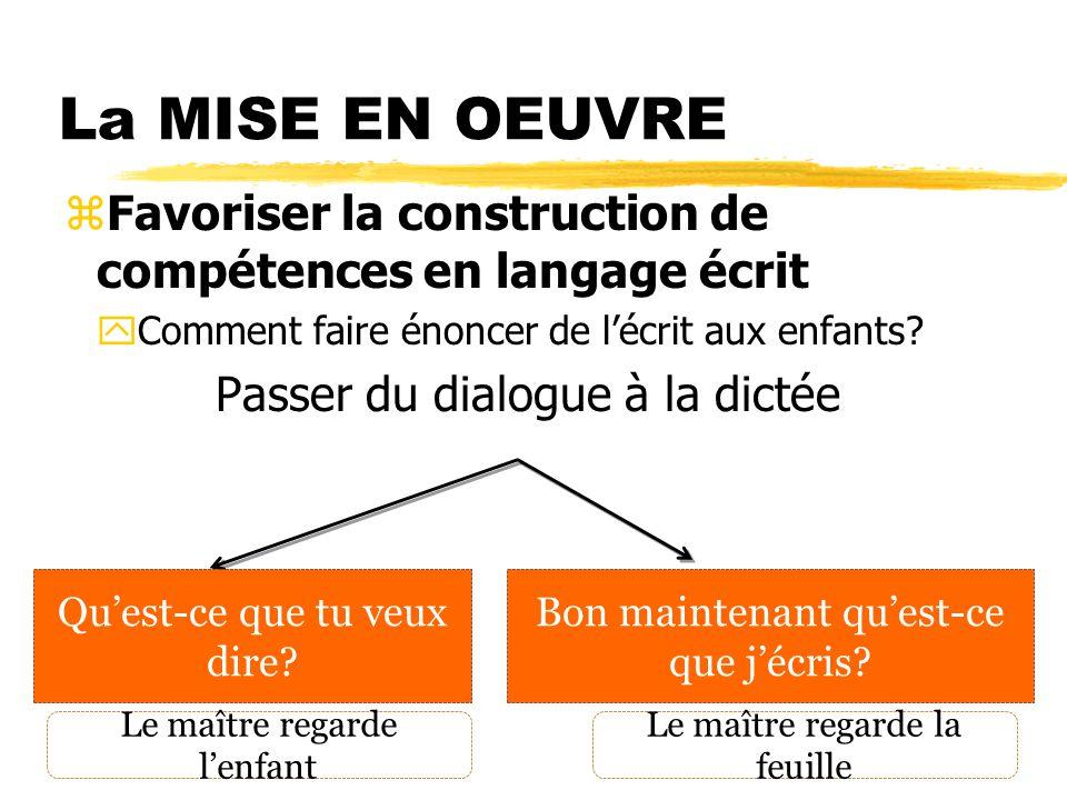 La MISE EN OEUVRE Favoriser la construction de compétences en langage écrit. Comment faire énoncer de l'écrit aux enfants