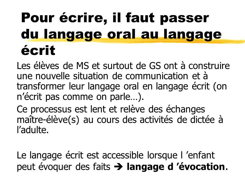 Pour écrire, il faut passer du langage oral au langage écrit