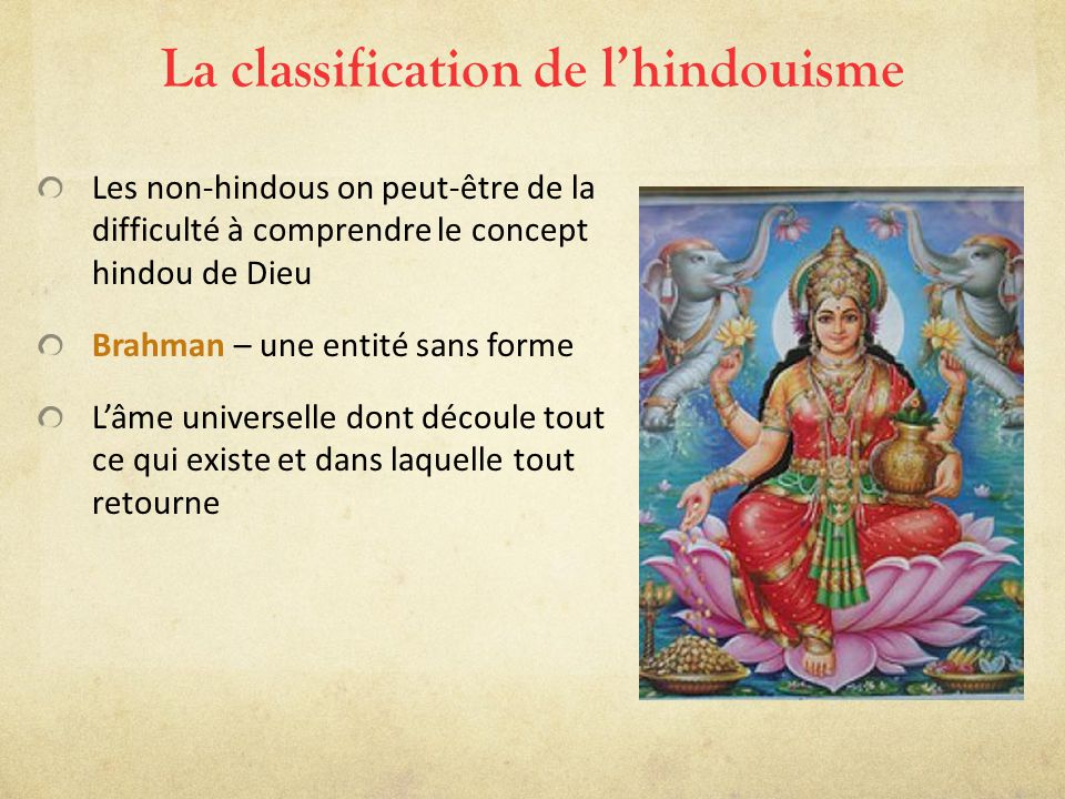 La classification de l'hindouisme