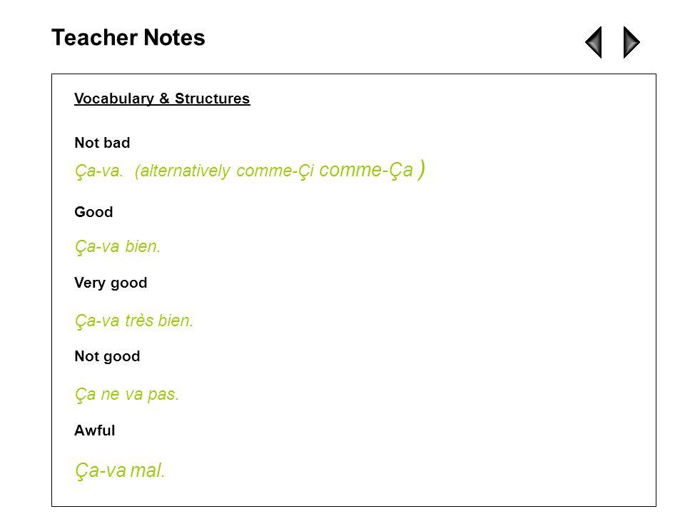 Teacher Notes Ça-va mal. Ça-va. (alternatively comme-Çi comme-Ça )
