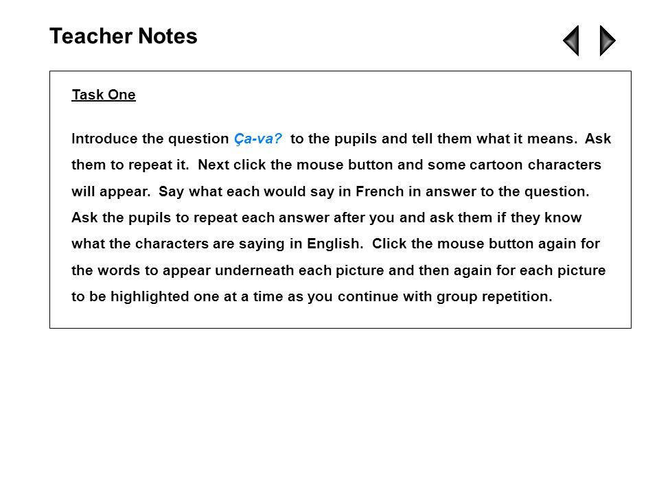 Teacher NotesTask One.
