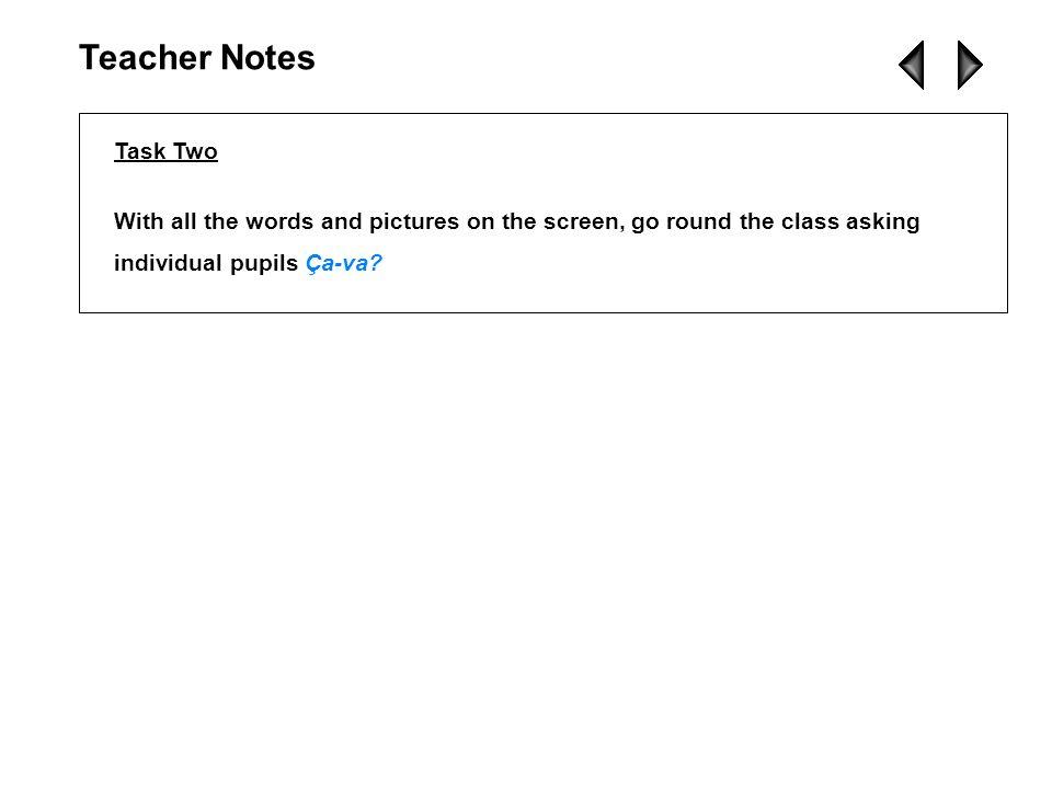 Teacher Notes Task Two.