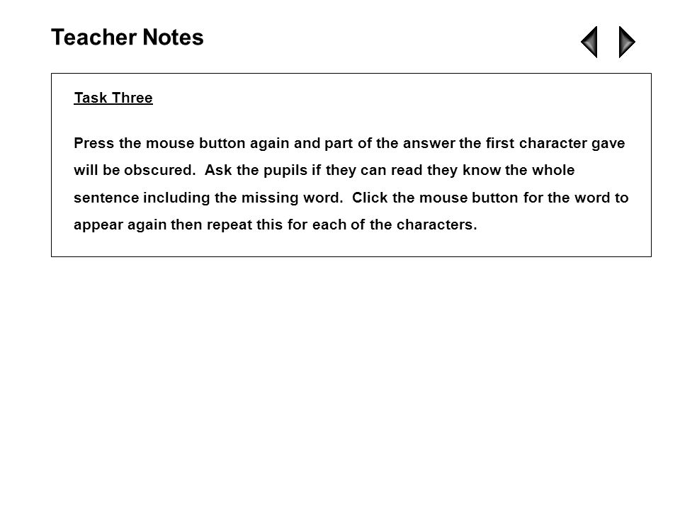 Teacher Notes Task Three