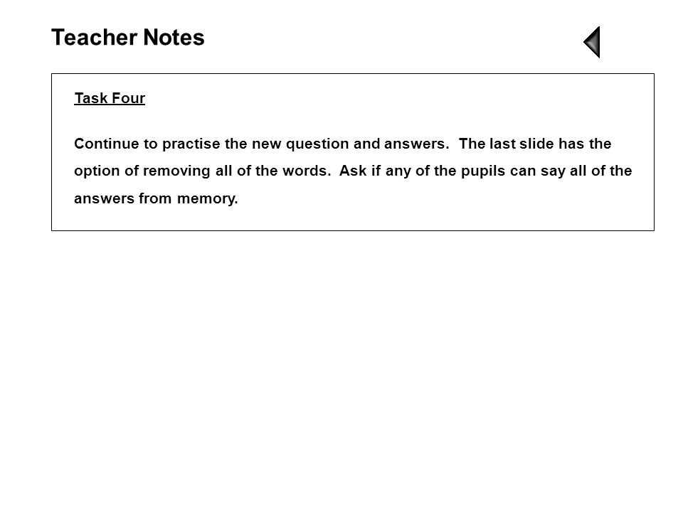 Teacher Notes Task Four