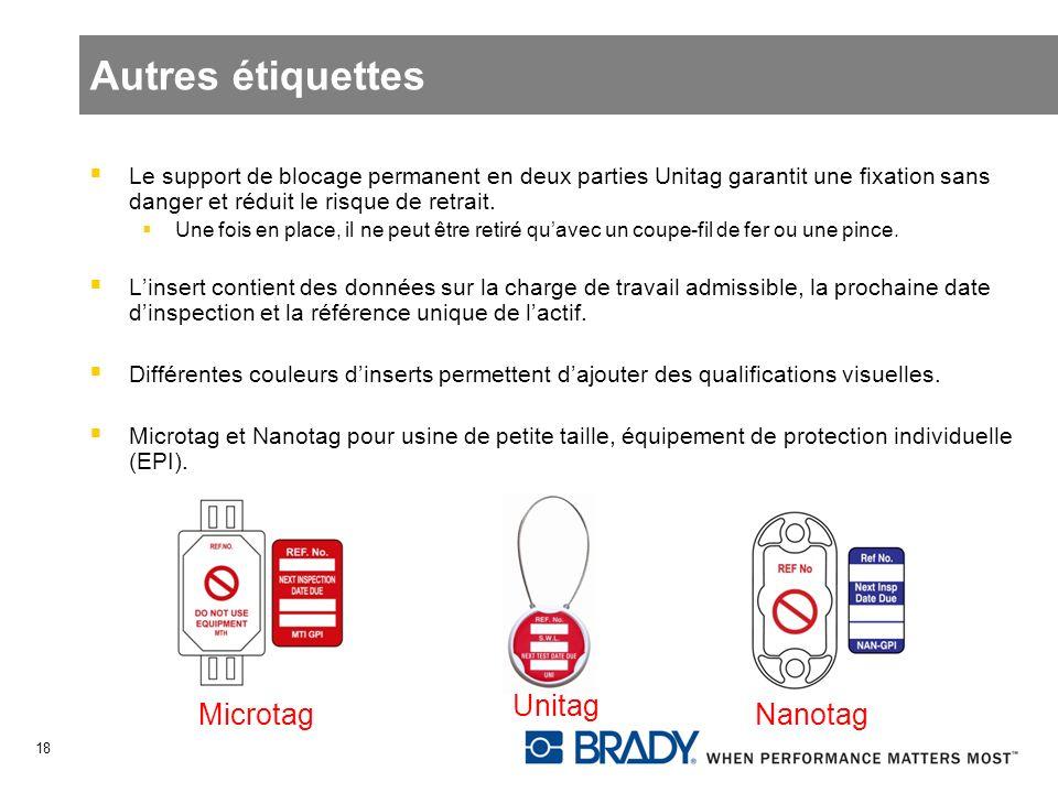 Autres étiquettes Unitag Microtag Nanotag