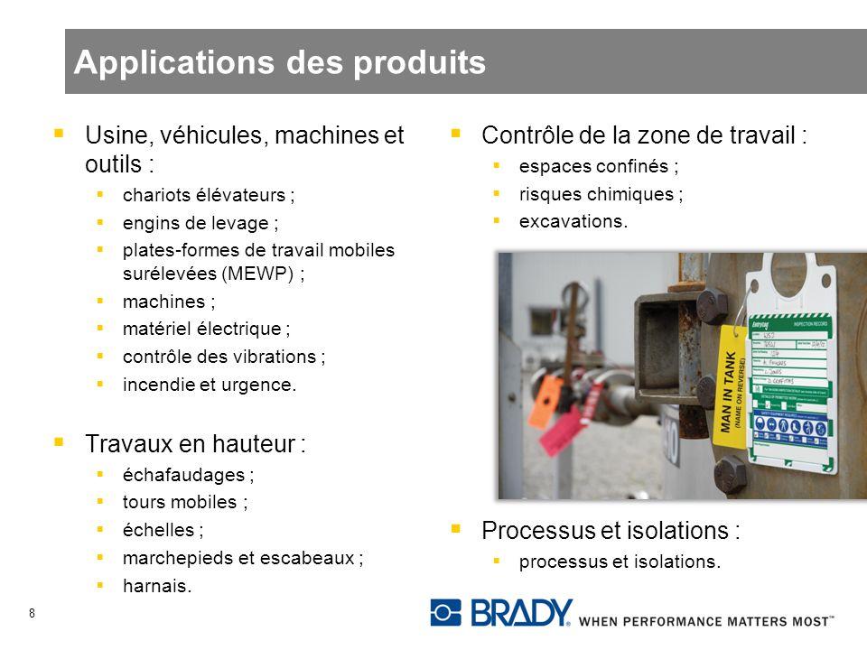 Applications des produits