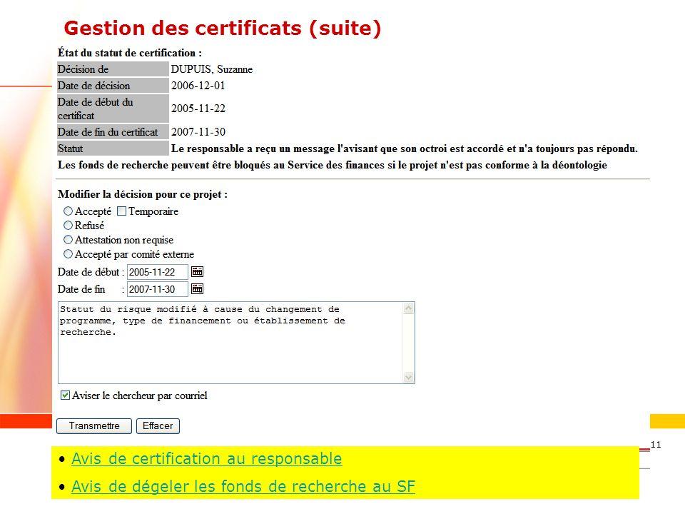 Gestion des certificats (suite)
