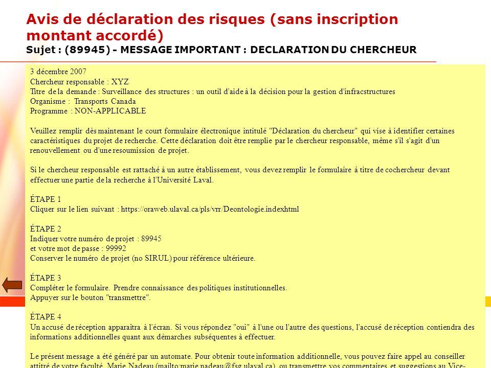 2017-04-02 Avis de déclaration des risques (sans inscription montant accordé) Sujet : (89945) - MESSAGE IMPORTANT : DECLARATION DU CHERCHEUR.