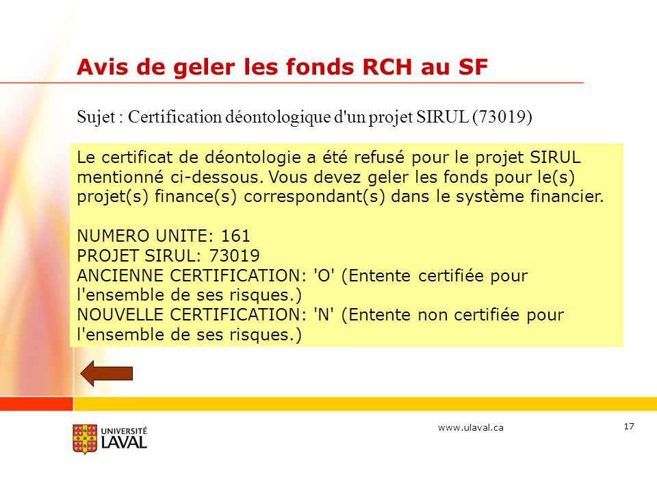 Avis de geler les fonds RCH au SF
