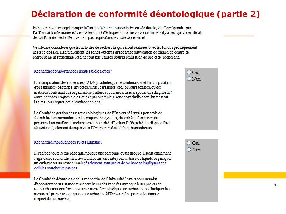 Déclaration de conformité déontologique (partie 2)