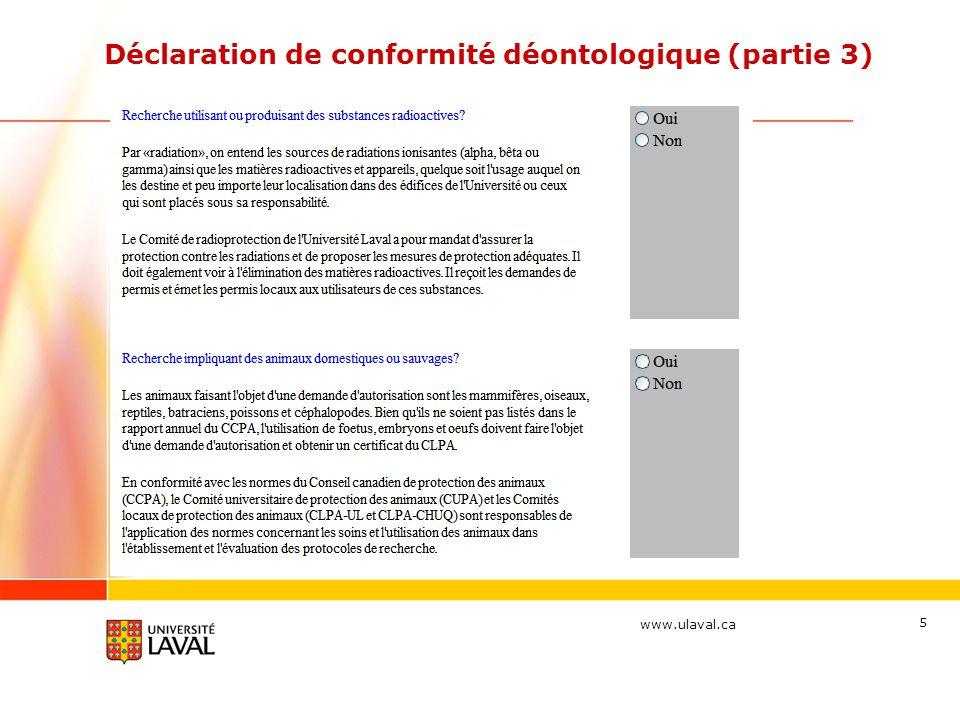 Déclaration de conformité déontologique (partie 3)