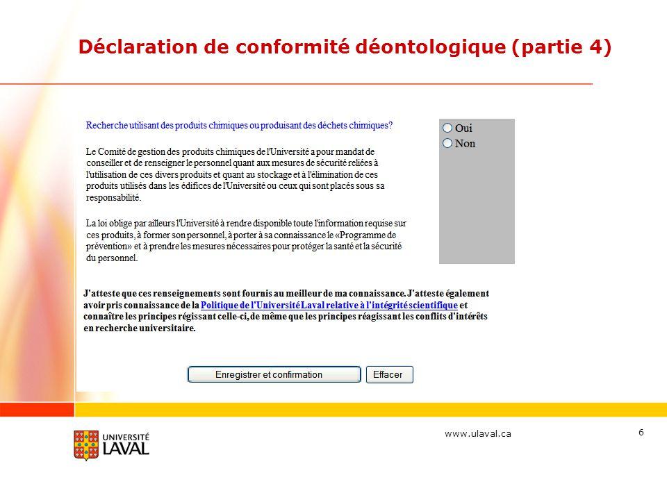 Déclaration de conformité déontologique (partie 4)