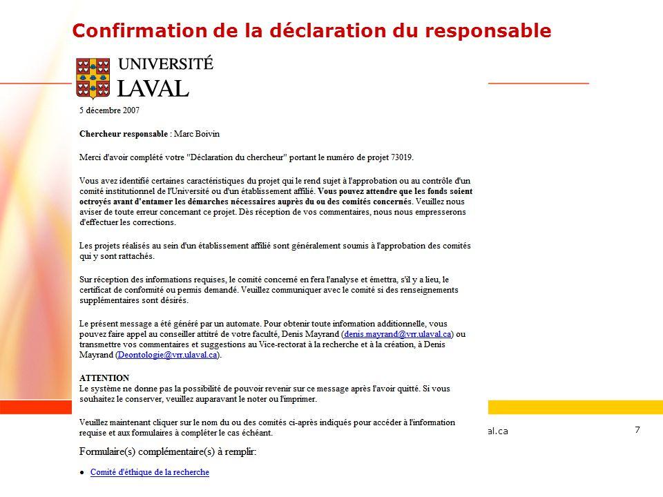 Confirmation de la déclaration du responsable