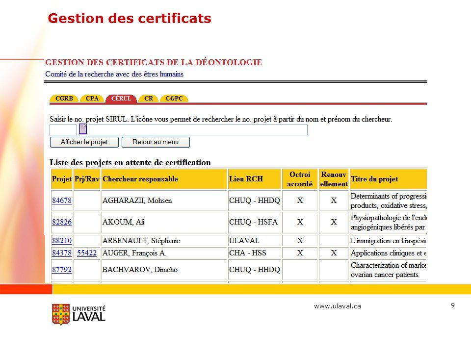 Gestion des certificats