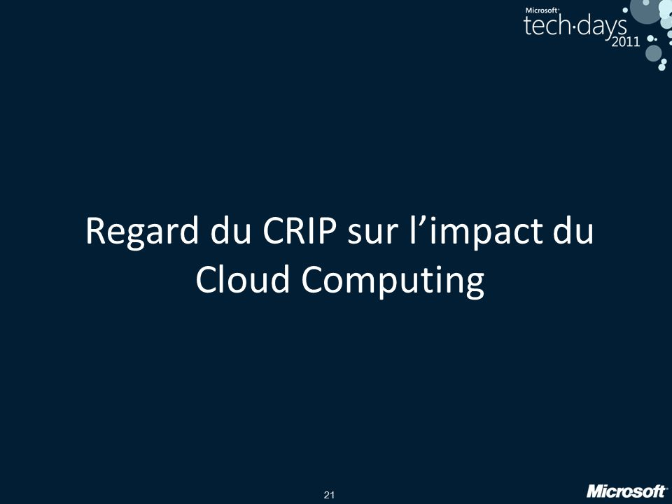 Regard du CRIP sur l'impact du Cloud Computing