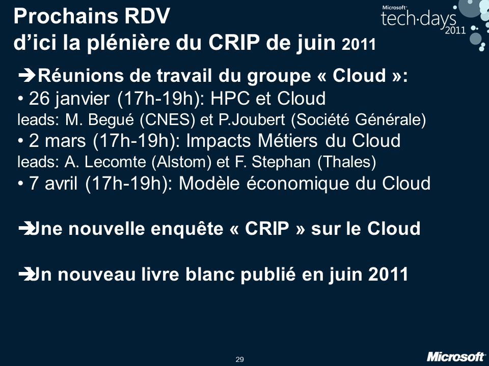 Prochains RDV d'ici la plénière du CRIP de juin 2011
