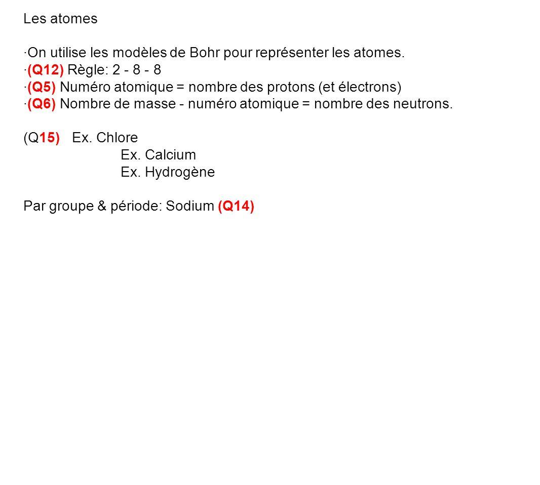 Les atomes ·On utilise les modèles de Bohr pour représenter les atomes. ·(Q12) Règle: 2 - 8 - 8.