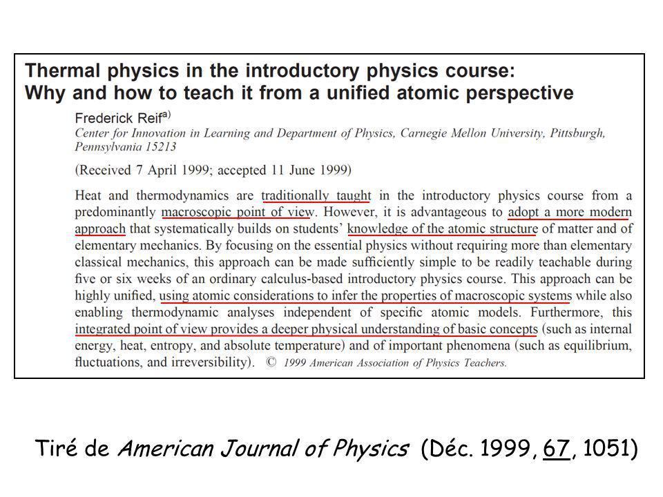 Tiré de American Journal of Physics (Déc. 1999, 67, 1051)