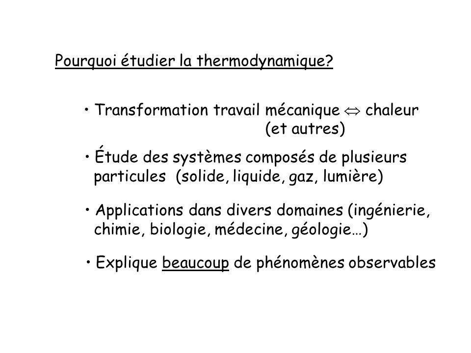 Pourquoi étudier la thermodynamique