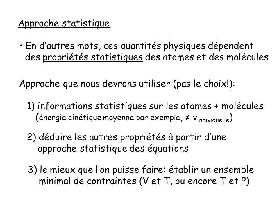 Approche statistique En d'autres mots, ces quantités physiques dépendent. des propriétés statistiques des atomes et des molécules.