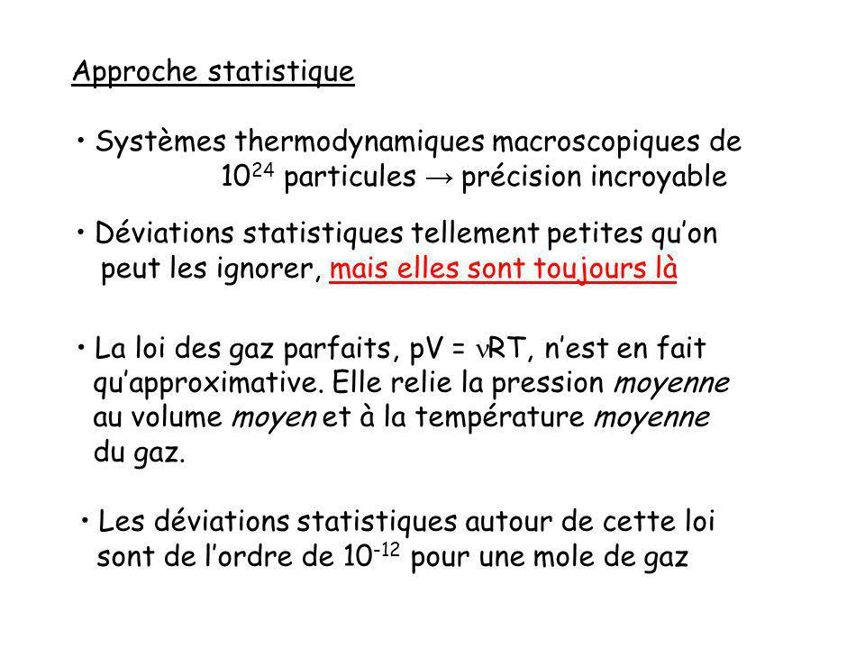 Approche statistique Systèmes thermodynamiques macroscopiques de. 1024 particules → précision incroyable.