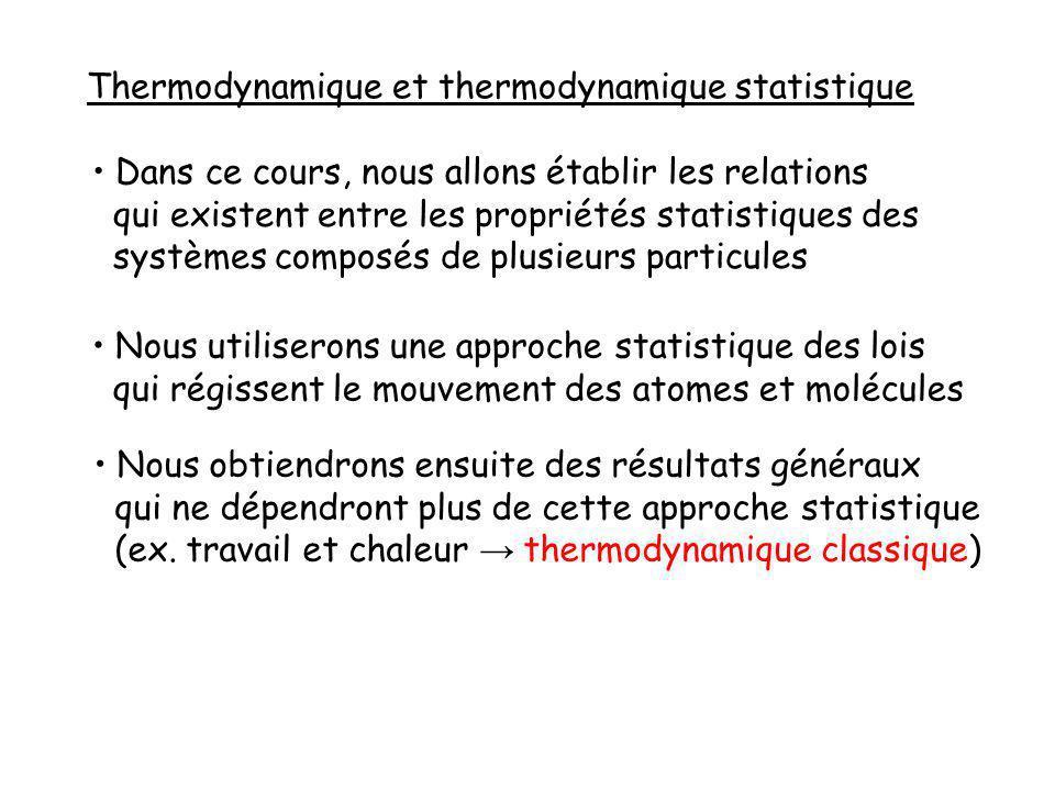 Thermodynamique et thermodynamique statistique