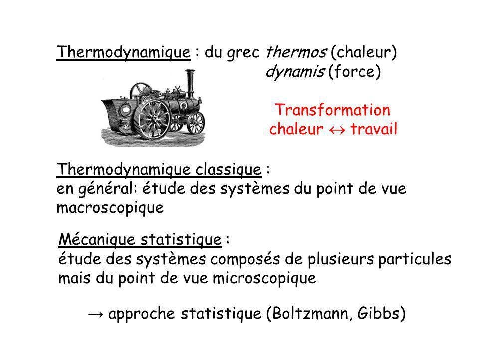 Thermodynamique : du grec thermos (chaleur)