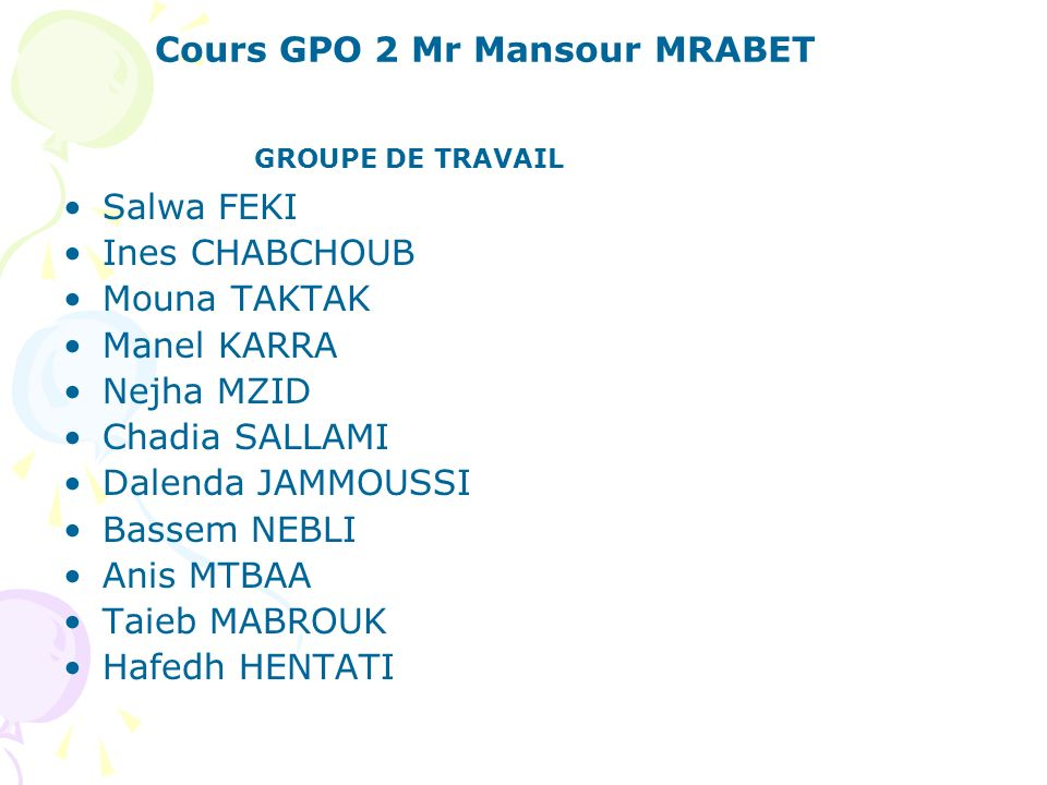 Cours GPO 2 Mr Mansour MRABET