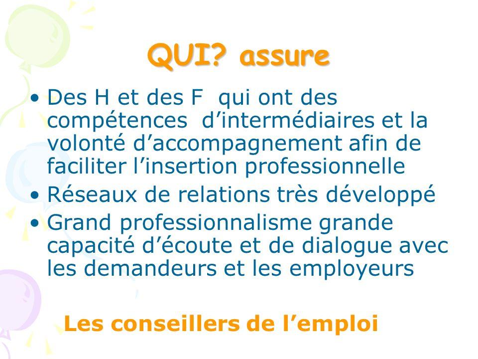 QUI assure Des H et des F qui ont des compétences d'intermédiaires et la volonté d'accompagnement afin de faciliter l'insertion professionnelle.