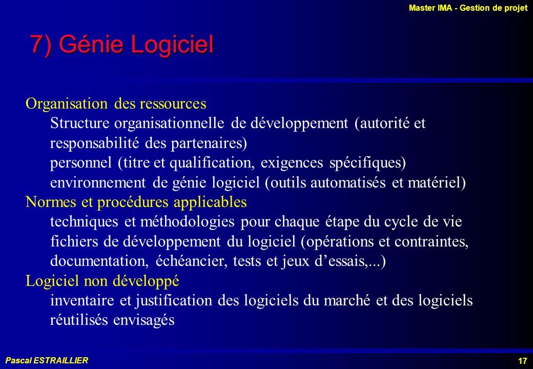 7) Génie Logiciel Organisation des ressources