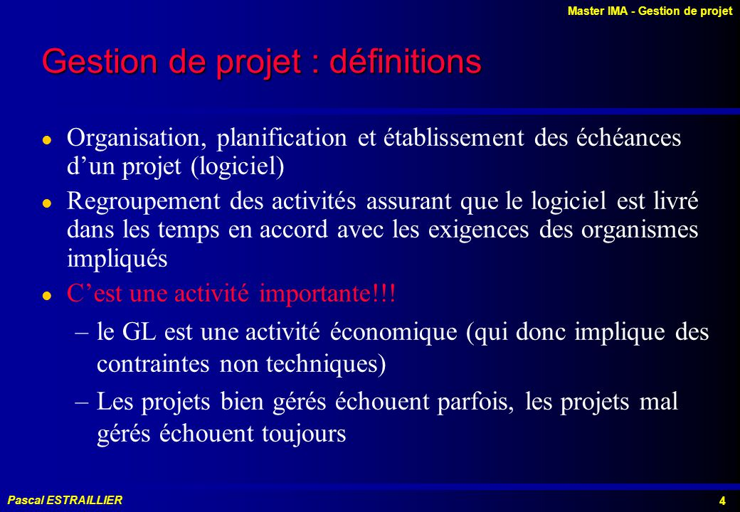 Gestion de projet : définitions