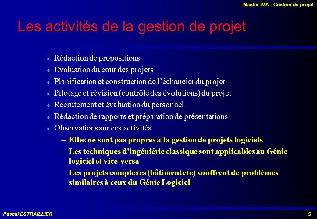 Les activités de la gestion de projet