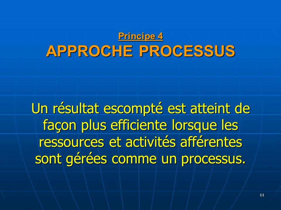 Principe 4 APPROCHE PROCESSUS Un résultat escompté est atteint de façon plus efficiente lorsque les ressources et activités afférentes sont gérées comme un processus.