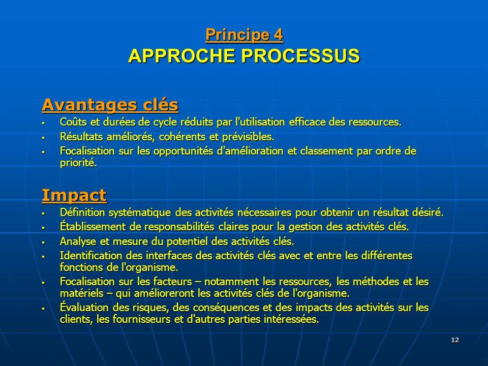 Principe 4 APPROCHE PROCESSUS