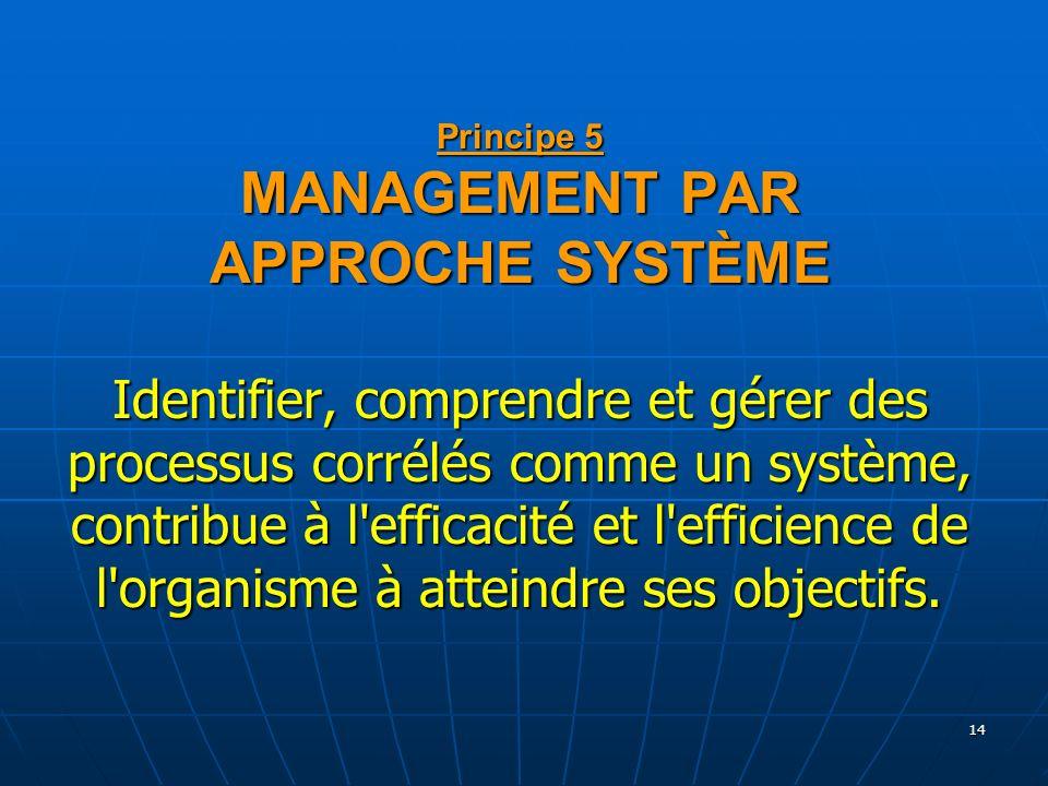 Principe 5 MANAGEMENT PAR APPROCHE SYSTÈME Identifier, comprendre et gérer des processus corrélés comme un système, contribue à l efficacité et l efficience de l organisme à atteindre ses objectifs.