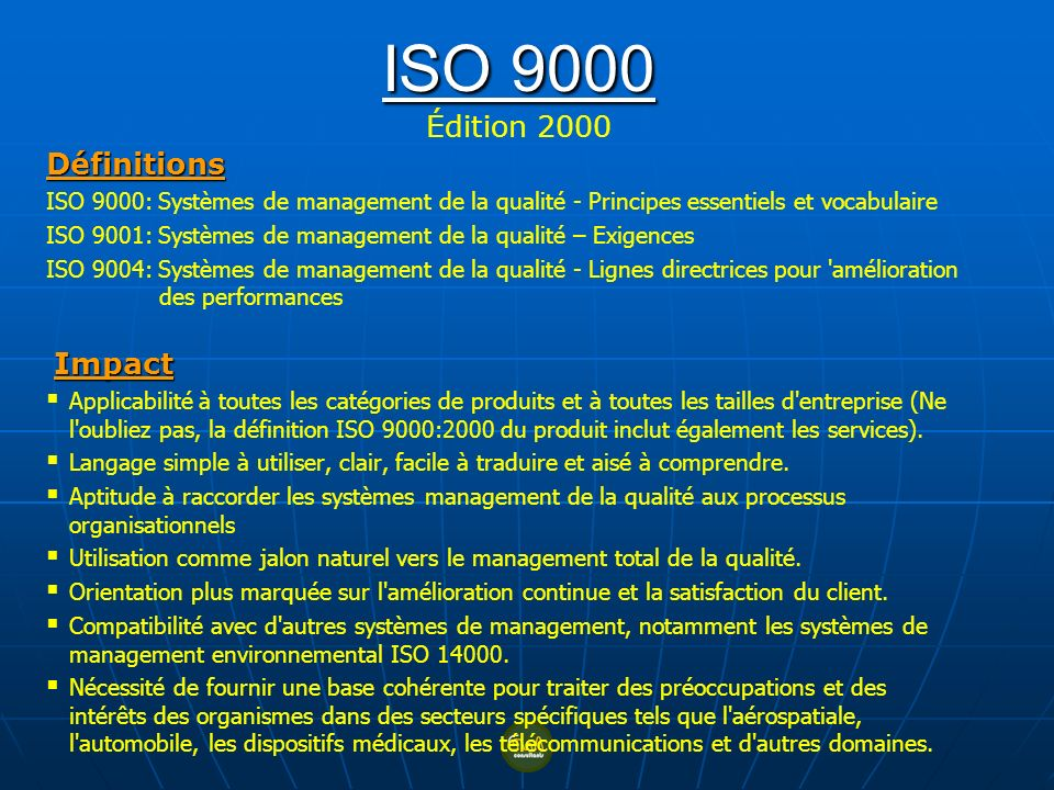 ISO 9000 Édition 2000 Définitions