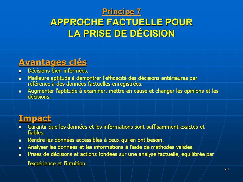 Principe 7 APPROCHE FACTUELLE POUR LA PRISE DE DÉCISION